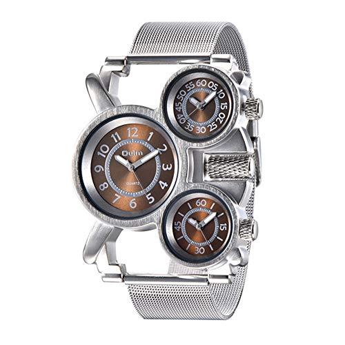 YIBOKANG Personalidad Creativa De Los Hombres Deportes Tres Movimientos Multi-Tiempo Impermeable Reloj De Cuarzo Moda Ocio Relojes De Regalo Multifuncionales (Color : Marrón)