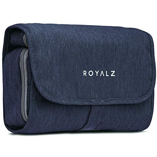 Beauty case ROYALZ con gancio da donna, uomo e bambino - per viaggi ed escursioni come Porta trucchi Trousse Borsa da bagno - 100% poliestere impermeabile, Colore:Navy Blu