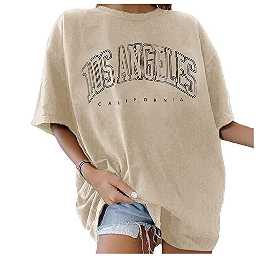 T-Shirt Damen Oversized Mode Los Angeles Grafik Rundhals Kurzarm Sommer Oberteile LA Vintage Drucken Bluse Streetwear Sport Oberteile Vintage Sweatshirt Pullover Teenager Mädchen Tunika Lang Tops