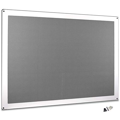 """Creative QT - XL Play-Up Building Brick Play Wall Panel, 34""""x44"""" - Pre-Assembled Makerspace Furniture - Compatible with All Major Brands of Building Bricks - Vertical Building Surface - Grey -  PUPGY12"""