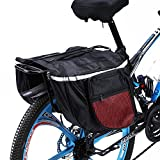 Alforjas Bicicleta Trasera, Alforjas Bicicleta Sillín Bolsa Impermeable de Tija Asiento Trasera Plegable Maletero de Bicicleta con Tira Reflectante Para Bici Montaña Cycling Ciclismo Viaje 25L (Rojo)