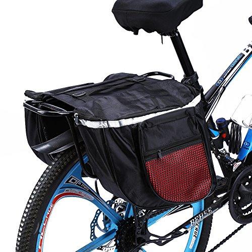 Alforjas Bicicleta Trasera, Alforjas Bicicleta Sill¨ªn Bolsa Impermeable de Tija Asiento Trasera Plegable Maletero de Bicicleta con Tira Reflectante Para Bici Monta?a Cycling Ciclismo Viaje 25L (Rojo)