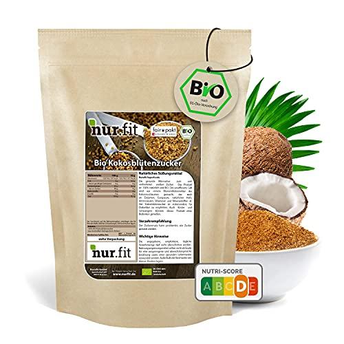 nur.fit by Nurafit BIO Kokosblütenzucker 1kg – rein natürlicher Zuckerersatz aus Kokosblüte als Süßungsmittel mit leichtem Karamell-Geschmack – Zuckeralternative in zertifizierter Bioqualität