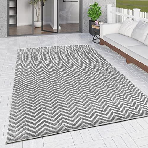 Outdoor-Teppich für Terrassen, Gartenlaube, Pavillon, groß, klein, gewebt, weich, geometrische Matte (grauer Zickzack, 192 x 290 cm)