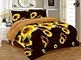 Home Fantasia 3 Piece Sunflower Brown Yellow Flannel Plush Sherpa Blanket QueenSize 7 lbs