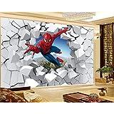 現代の壁紙テレビの背景リビングルームWallpa ウォールイラストリビングルームのベッドルームの背景の壁の装飾壁画ウォール紙を通して3Dの壁紙スパイダーマン