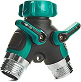 Trazon Water Splitter 2 Way, Garden Y Hose Connector Metal Body, Water Faucet Splitter with Comfortable Rubberized Grip, 2 Way Hose Splitter Heavy Duty for Outdoor and Indoor Use (Green)