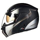 MERRYHE Caschi Moto Unisex PRO Full Face Casco Moto Doppio Sun Visor Allround Due modalità per Uomo Womens Scooter Motorcross Veicolo Elettrico,MattBlackStripe-XXXXL(64-65cm)