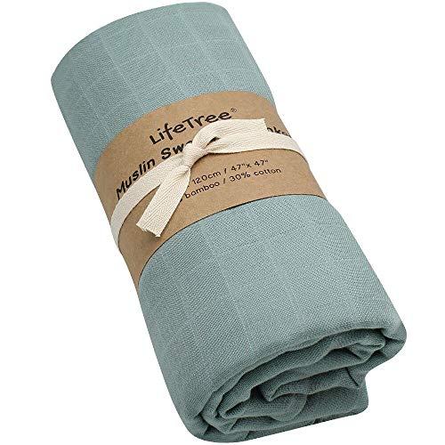 LifeTree Solide Baby Musselin Swaddle Decke - 120x120 cm Baby OEKO TEX Bambus Baumwolle Swaddle Wrap, Aufstoßen Tuch & Deck Kinderwagen
