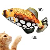 Wiggle Cat Toys with Motion Sensor Electric Flopping Moving Fish Kicker Realistic Catnip Motion Kitten Plush Interactive Cat Toys with Packets USB-Chargeable (Cat Toy-1)