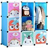 BRIAN & DANY Armadio Modulare Bambini, Portatile Guardaroba, Armadietto in Moduli Plastici, Blu, 110 x 47 x 110 cm