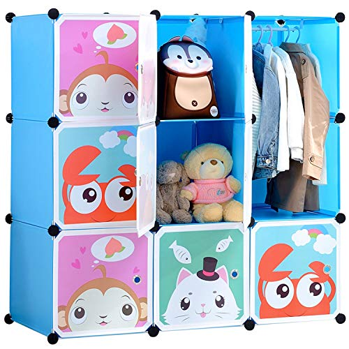 BRIAN & DANY Armario Modular Infantil de Puertas con Dibujos Animados, Estantería Portátil para Guardar Ropa, Zapatos, Juguetes, Azul, 110 x 47 x 110 cm
