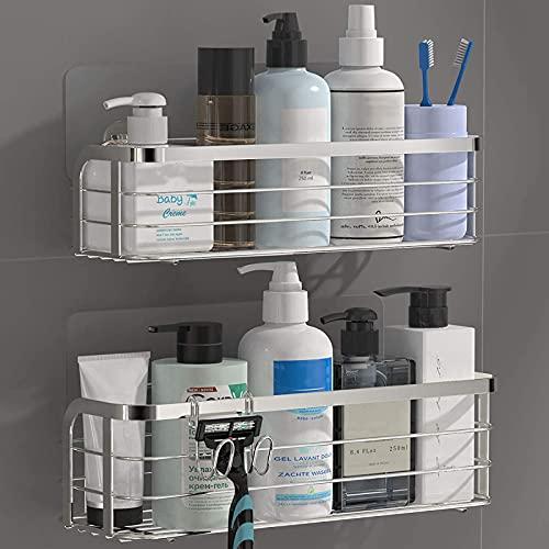 LJBOZ Estanteria Ducha Sin Taladros,Estanteria Baño Ducha de Esquina Aluminio,Estantería de Esquina para Baño Ducha Colgadores Organizador Baño para Baño y Cocina