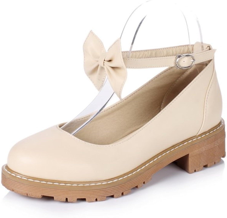 BalaMasa Womens Buckle Bows Square Heels Platform Round-Toe Urethane Mary Jane Flats