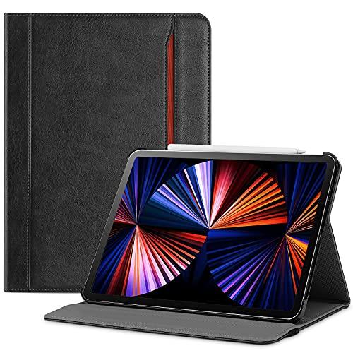 ProHülle Lederhülle für iPad Pro 12.9 Zoll 2021/5G, Schutzhülle mit Kartenfach Multi Blickwinkel, Premium PU Leder Folio Ständer Hülle Hülle Cover -Schwarz