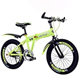 Oanzryybz Haute qualité Montagne Aluminium vélo Cadre Absorption des Chocs vélo Pliant Étudiant vélo Cadeau 20 Pouces (Color : Green, Size : 20 inches)