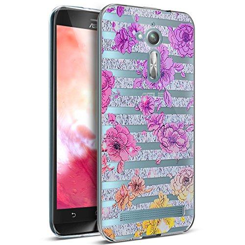 Kompatibel mit ASUS Zenfone Go ZB500KL Hülle,Bunte Gemalte Mandala Blumen Transparent TPU Silikon Handyhülle Tasche Durchsichtig Schutzhülle für ASUS Zenfone Go ZB500KL (5 Zoll),Gestreifte Lila Blumen