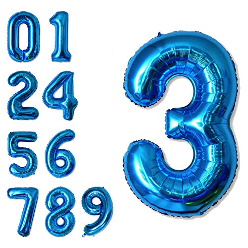 40 Inch Jumbo Blue Number 3 Balloon Giant Balloons Prom Balloons Helium Foil Mylar Huge Number Balloons for Birthday Party Decorations/Wedding/Anniversary