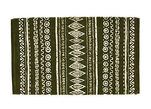 BiancheriaWeb Tappeto Passatoia Cucina Indiano 100% Cotone Disegno Etnic Verde 55x230 Verde