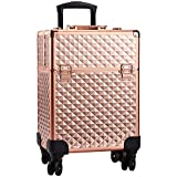 Professional Extra Large Makeup Trolley Lockable Rolling Train Case Artist Make Up Box