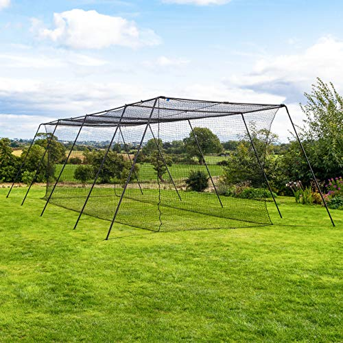 Fortress Trapezoid Baseball Batting Cage [Complete Package] - Softball Hitting Cage Net (35ft Cage - Internal Net)