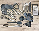 Kitchen Utensil 24 Pcs, Stainless Steel and Nylon Utensil Set, Kitchen Gadgets, Non-Stick and Heat Resistant Cooking Utensils Set, Kitchen Tools, BPA-Free, (Black) by A.C.A Home