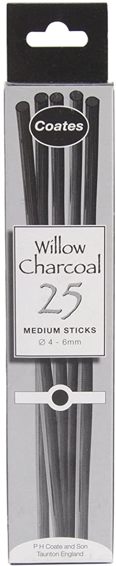Speedball Coates Artist Willow Charcoal Thin 25 Sticks, Black
