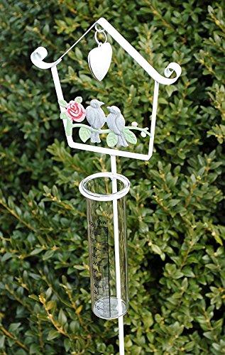 Regenmesser Beetstecker Pflanzenstecker Gartenstecker Metall Glas Weiß 105cm
