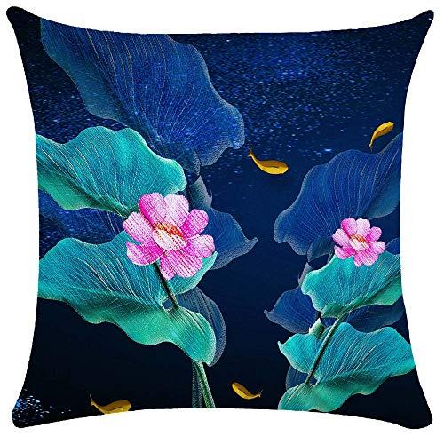 WEIANG Kissenbezug mit Lotusblüte, doppelseitig, groß, 50 x 50 cm, Blau