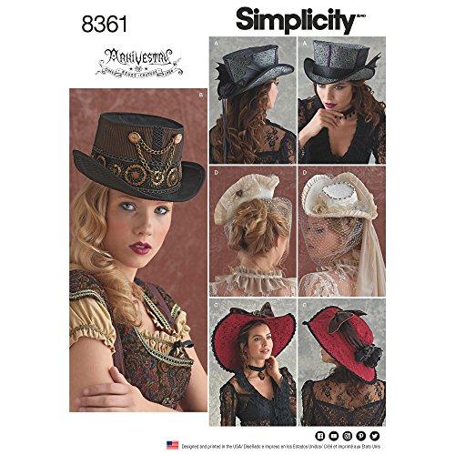 Simplicity 8361 Schnittmuster für Damen Steampunk-Hut, Gr. S-L