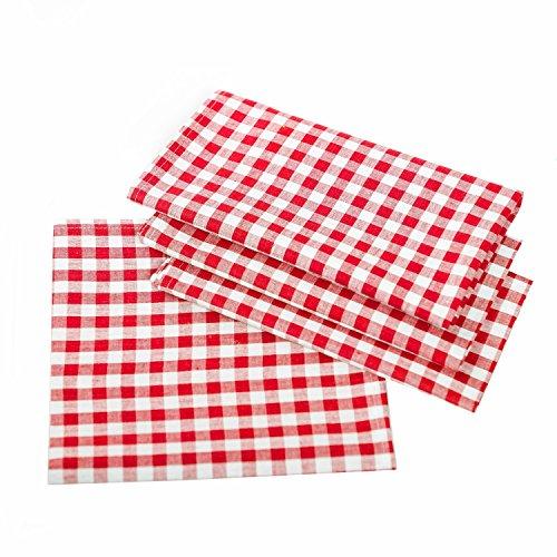 Tovaglia da tavolo a quadretti, in stile rustico,100% cotone, cotone, Rosso e bianco a scacchi, 80x80 cm eckig
