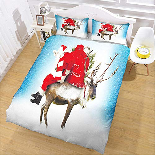 Eainkj Christmas Kid Printed Duvet Cover,Single bed 135x200cm Santa Claus gift 3D Children's room and bedroom Bedding Boy Girl Soft 3 pcs Duvet Cover Set with Zipper Closure