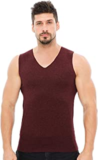 Aiweijia Men's Thermal Tops Warm Vest Tank Top V Neck Sleeveless Soft Warm Seamless Elastic Slim Body Shaping Polyester Fibre Man Thick Thermal Underwear Bottoming Shirt
