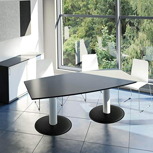 WeberBÜRO Optima conferentafel bootvorm 200x100 cm vergadertafel antraciet tafel eettafel keukentafel