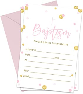 Girls Baptism Invitations and Envelopes (15 Pack) Christening Party Babies Baptismal Celebration Religious Ceremony Fill In Blank Invite Cards Pink and Gold