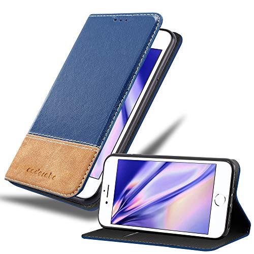 Cadorabo Funda Libro para Apple iPhone 7 / 7S / 8 / SE 2020 en Azul MARRÓN - Cubierta Proteccíon con Cierre Magnético, Tarjetero y Función de Suporte - Etui Case Cover Carcasa