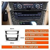 Zhixiang BMW 3シリーズE90 E92 2005-2012カーボンファイバーエアコンコントロールパネルカバーナビゲーションCDラジオステッカーカーアクセサリー (Color Name : A)