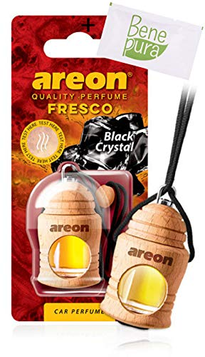 AREON Auto-luchtverfrisser parfum Fresco 4 ml - zwart kristal - hangende fles diffuser met echt houten deksel, duurzaam