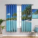 ZLYYH cortinas de salon 2 piezas Azul cielo arboles playa WxH:117x138cm(58x138cm x2 paneles) Paneles de cortina Cortinas de ventana con aislamiento térmico para dormitorio / sala de estar, cortinas de
