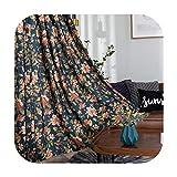 Curtains - Cortinas opacas rústicas americanas semiopacas para dormitorio, estudio, salón, flor, ventana, cortina de algodón, 150 x 260 cm, 1 unidad