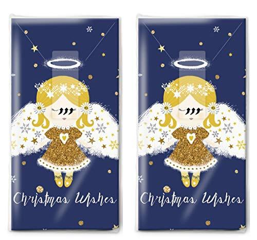 20 zakdoeken (2 x 10) vredige engel als cadeau voor Kerstmis.