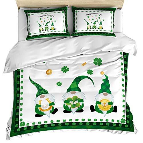 Funda nórdica de lujo para ropa de cama, funda nórdica y fundas de almohada con diseño de gnomo del día de San Patricio Juego de sábanas de 3 piezas, juego de funda nórdica suave y acogedora de algodó