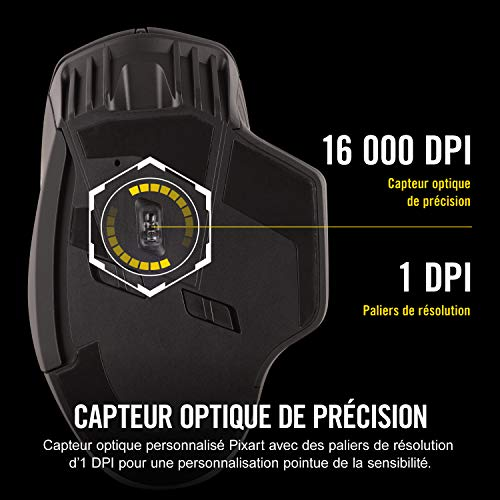 Corsair DARK CORE RGB Optique Souris Gaming sans Fil (Rétroéclairage RGB Multicolore, 16000 DPI) Noir