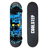 Coolstep Pro Skateboard 8-inch Full Complete for Trick Beginners, Cool Design (Blue)