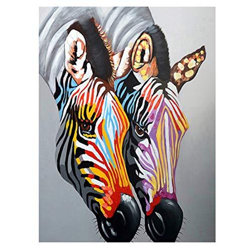 Coloridas pinturas de graffiti de cebras sobre lienzo, pósteres e impresiones de animales, arte de pared, decoración del hogar