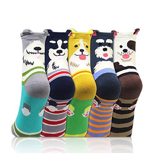 EYNOCA Dog Socks Womens 4-7, Odd Cute Animal Socks 5 Pairs, Thermal Novelty Socks for Women, Christmas Anniversary Birthday Funny Embroidered Socks Novelty Gifts for Women, Cosy Socks Multipack