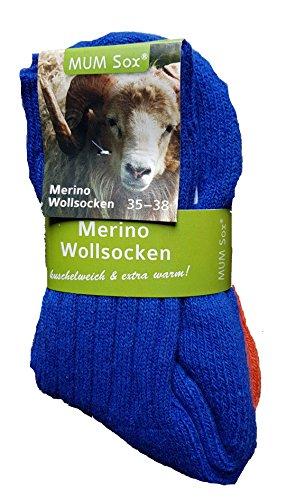 2 Paar Merino-Wollsocken Winter Socken 70% Merinowolle, 25% Polyamid, 5% Elasthan (Blau/Orange, 39-42)