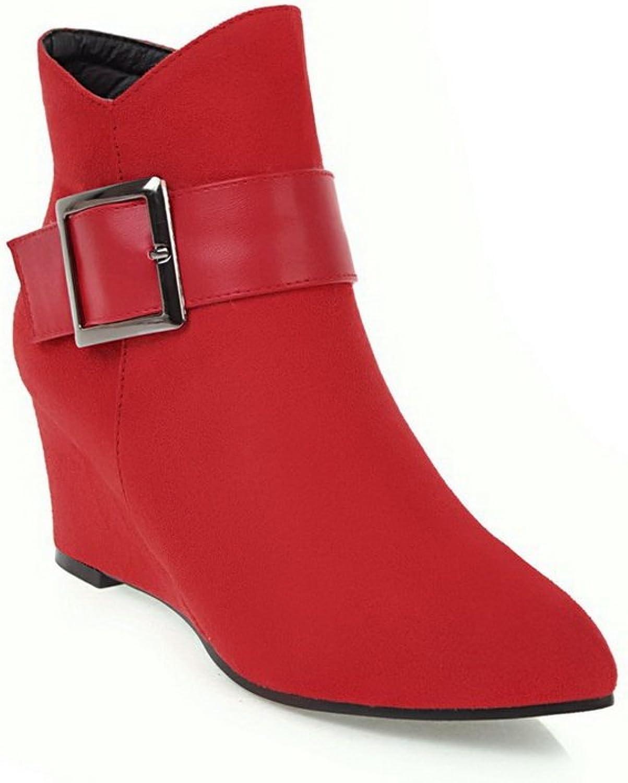 AdeeSu Womens Metal Buckles Buckle Wedges Pointed-Toe Suede Boots SXC02592
