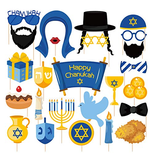 25Ct Hanukkah Party Photo Booth Props - Holiday Chanukah Party Decorations Supplies Favors Cosplay Props