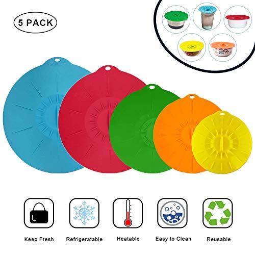 Deckel aus Silikon, 5er Frischhalte-Deckel in Verschiedenen Größen, Silikon Abdeckung - BPA Frei und Wiederverwendbar, Aufbewahrungsdeckel für Schüsseln, Becher, Dosen, Obst und Mikrowelle (Rund)